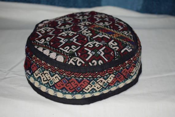 Suzani hat Black hat Embroidery hat Prayer hat Sun