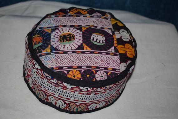 Elephant patterned handmade hat Vintage hat big ha