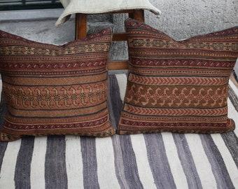 Kilim set two pillow Ethnic Kurdish Kilimset pillow Rare pattern pastel kilim set pillow Embroidery handmade kilim pillowset cover Ag-3