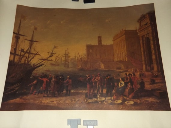 Mus\u00e9e du Louvres Paris Printed by Georges Lang Vintage French Poster 17th Century Painting by Claude Gell\u00e9e Le Lorrain View of a Seaport
