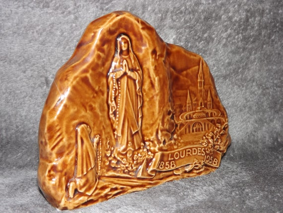 Lourdes souvenir collectible religious trinket dish. Vintage French turned and carved wooden box