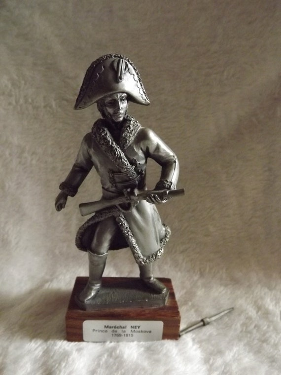 Vintage French Collectible Pewter Les Etains du Prince Soldier Figurine French Empire Pewter Military Figure Marechal Ney
