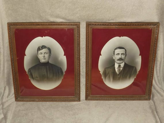 Antique French Two Frames Of Husband And Wife Wooden Carved Etsy