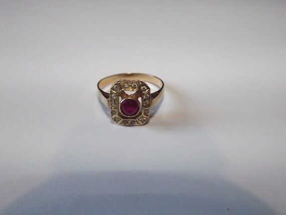 Vintage French Art Deco style Ring - 14K Gold Ring