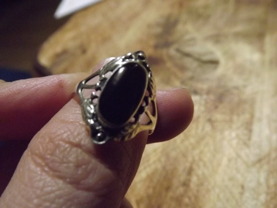 Vintage silver woman ring old silver ring 1980s ring silver and black ring vintage gothic ring gift for her