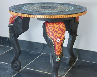 SOLD-SOLD-SOLD - Indian Elephant Round Wooden Table/Upcycled/ Graphite Annie Sloan Chalk Paint/ Decorative Designs using Acrylics