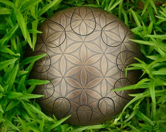 Steel tongue drum, steel drum, tank drum,глюкофон With Etched Flower of life on it 30cm\11.8 + free Bag