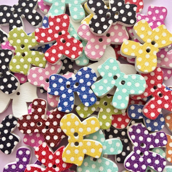 50x Colorful Christmas Stamps Wooden Buttons Embellishment for Cardmaking