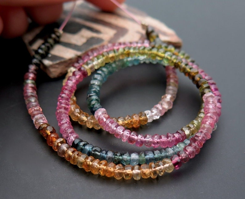 Multi Faceted Tourmaline Beads 13 Inches Multi Tourmaline Beads Lot Tourmaline Faceted Rondelle Beads Natural Tourmaline 2.25 MM
