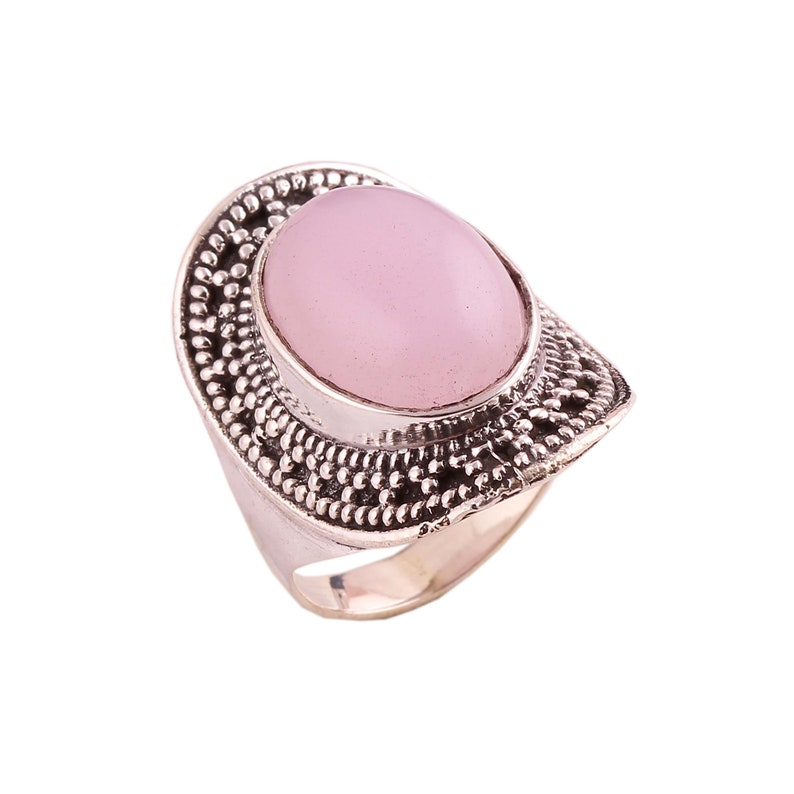 Natural AAA Rose Quartz Ring 925 Sterling Silver Statement Ring,Valentine Gift,Gift for her,Gift for Girlfriend,Engagement Gifts for women