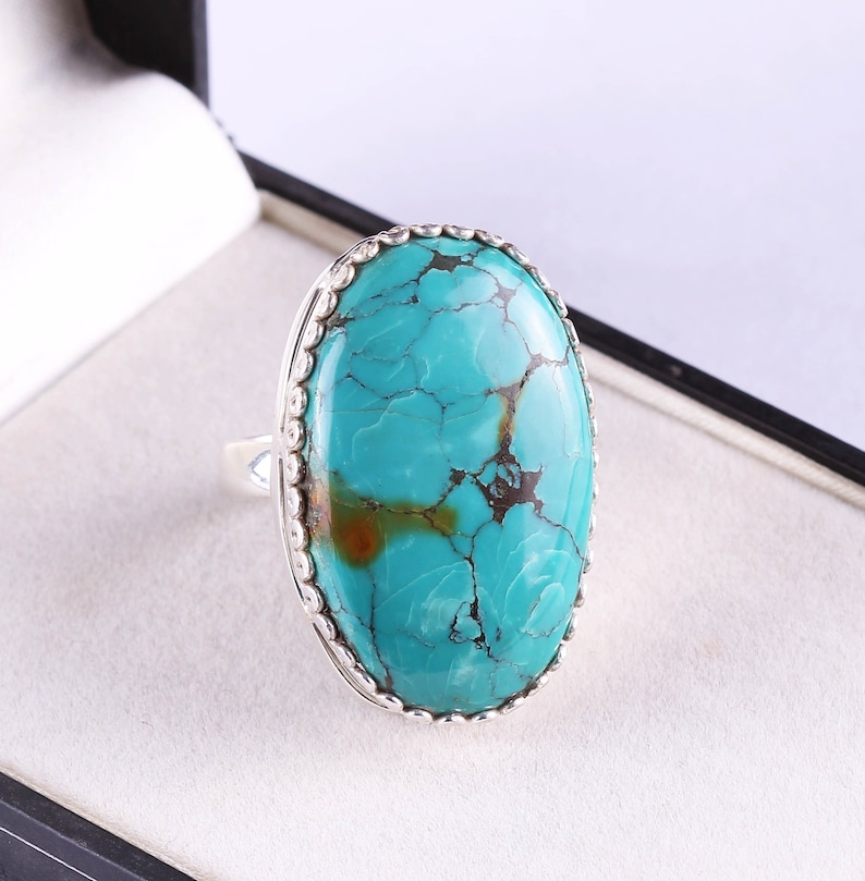 Boho Ring Solid Ring Unique Ring,Turquoise Ring 925 Sterling Silver size 7 US Natural Turquoise Gemstone Boho Ring,Statement Ring