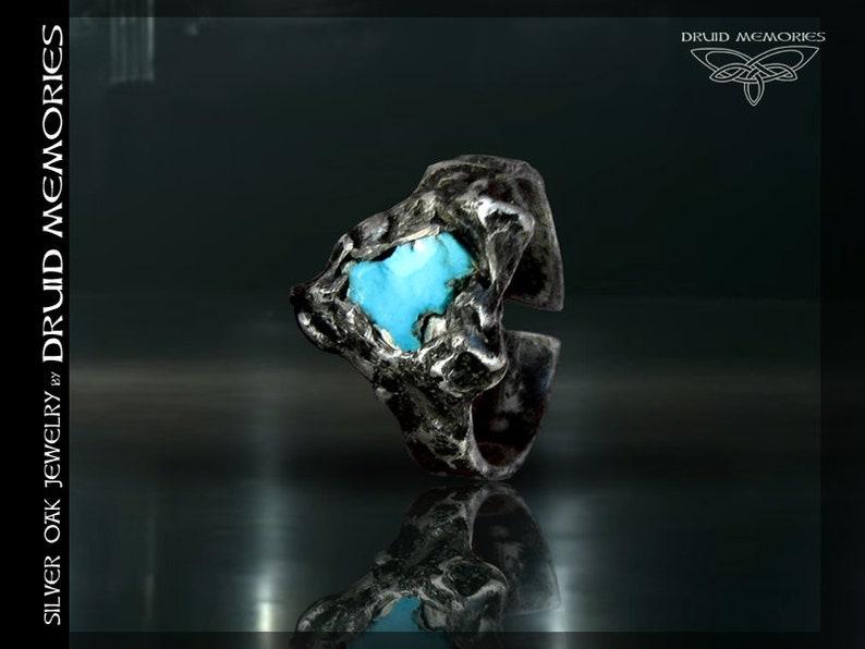 druid ceremonial ring of morning blue Natural turquoise ring Nirah