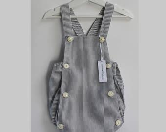 Baby bib romper / / grey and white striped cotton