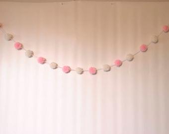 Mini pompom garland, pink and white yarn pom pom garland , pom pom banner, nursery decor, boho decor, baby bedroom decor, baby girl gift