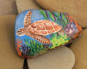 Turtle on the Reef / painted Smooth Lake Stone
