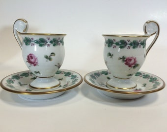 RICHARD GINORI-Shower manufacture-Florence Italy-Porcelain-couple 2 cups 2 coffee saucers Vintage
