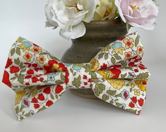 Liberty Dog Bow, D'Anjo Marigold, Floral Bow Tie