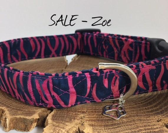 Sale Dog Collar, Zebra Print, Zoe, Cute Dog Collar, Zebra Print Collar, Animal Print Collar, Dog Collar Sale, Luxury Dog Collar