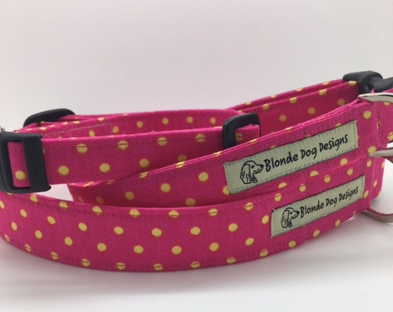 Polka Dot Collar, or, Polka Dot Lead, Fruit Salad, Pink Dog Lead, Pink Dog Collar, Spotty Dog Collar, SpottyDog Lead