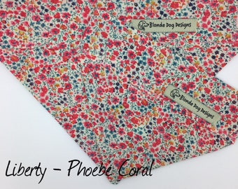 Liberty Dog Bandana, Phoebe Coral, Floral Neckerchief
