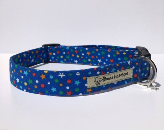 Star Dog Collar, Cosmic, Blue Dog Collar
