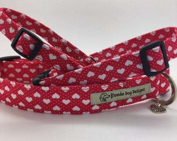Love Heart Collar, or, Love Heart Lead, Sweetheart, Red Dog Collar