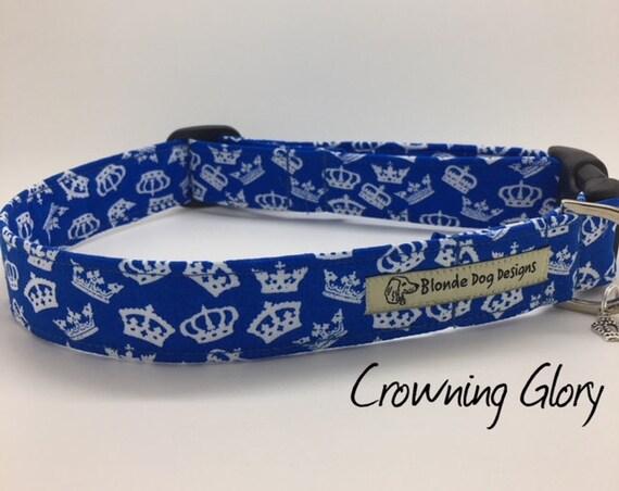 Crown Dog Collar, Crowning Glory, Royal Blue Collar, Cute Dog Collar, Blue Dog Collar, Luxury Dog Collar