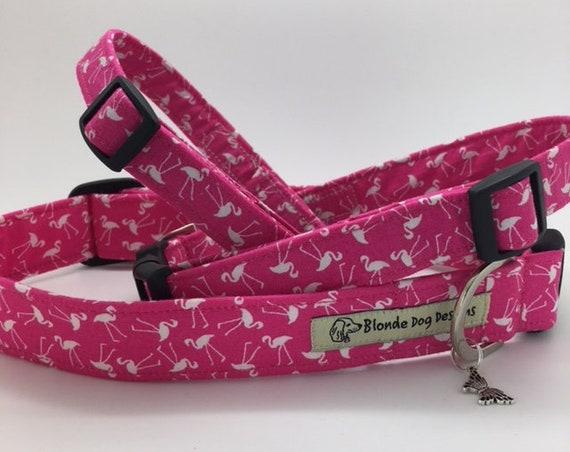 Flamingo Dog Collar, or, Flamingo Dog Lead, Pretty Flamingo