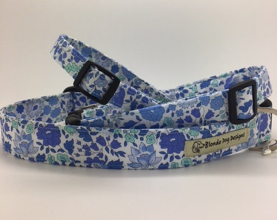 Liberty Dog Collar, or, Liberty Dog Lead, D'Anjo Blue, Floral Dog Collar, Floral Lead