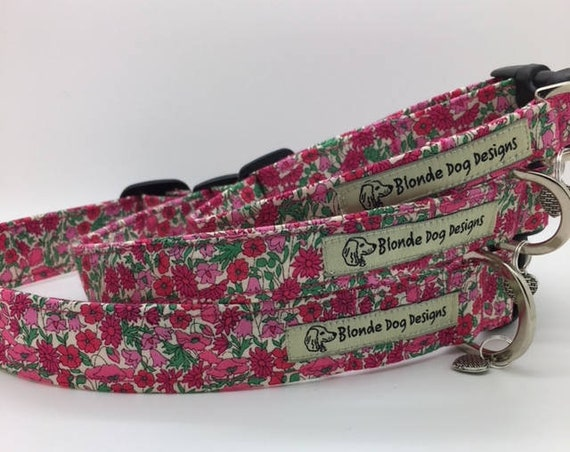 Liberty Dog Collar, Liberty London, Petal & Bud, Floral Dog Collar, Pretty Dog Collar, Liberty Collar