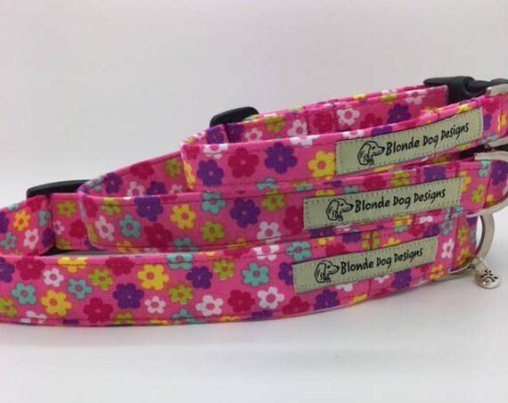 Floral Dog Collar, or, Floral Dog Lead, Hippy Flower Pink,  Pretty Dog Collar, Pink Dog Collar, Summer Dog Collar