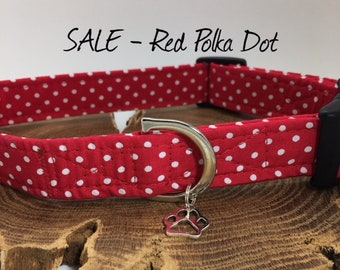 Sale Dog Collar, Red Polka Dot Collar