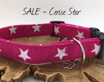 Sale Dog Collar, Cerise Star, Pink and White Collar