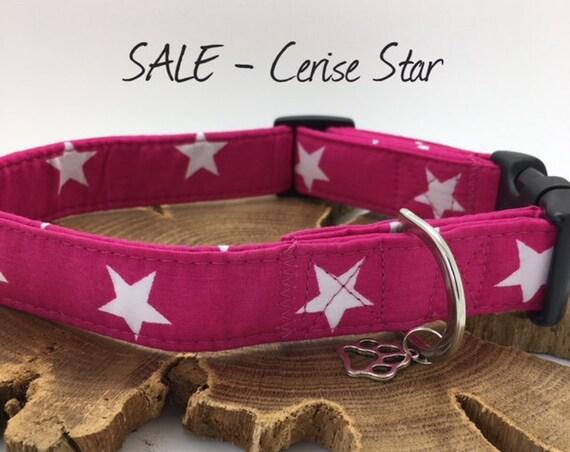 Sale Dog Collar, Cerise Star, Pink Dog Collar, Stars Dog Collar, Pink and White Collar