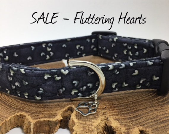 Sale Dog Collar, Fluttering Hearts, Hearts Dog Collar, Cute Dog Collar, Love Heart Collar, Luxury Dog Collar.