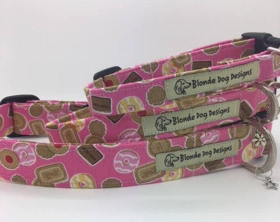 Biscuit Dog Collar, or, Biscuit Dog Lead, Teatime, Girl Dog Collar, Pink Collar, Pink Dog Lead, Luxury Dog Collar, Cookie Dog Collar