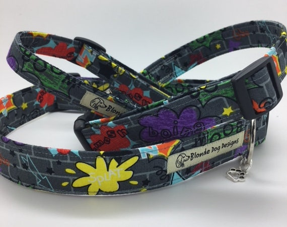 Comic Dog Collar, Boom Pow! Boy Dog Collar, Fun Dog Collar, Comic Collar