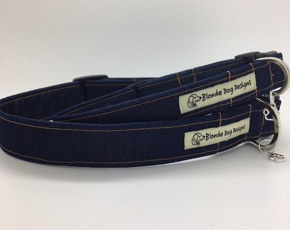 Denim Dog Collar, Double Denim, Jeans Dog Collar