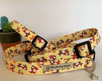 Fox Dog Collar or, Fox Dog Lead, Felix Fox - Yellow