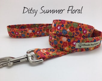 Ditsy Summer Floral Dog Lead, Floral Dog Leash