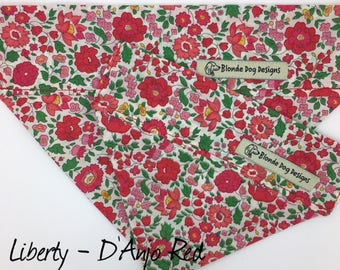 Liberty Dog Bandana, D'Anjo Red, Floral Neckerchief