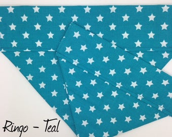 Dog Bandana, Ringo Teal, Star Dog Bandana