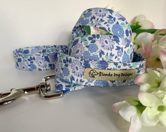 Liberty Dog Lead, D'Anjo Blue, Floral Leash