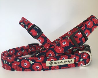 Poppy Dog Collar, Poppy, Floral Dog Collar