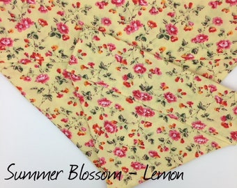 Floral Dog Bandana, Summer Blossom Lemon, Pretty Dog Neckerchief