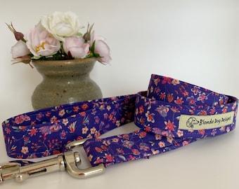 Liberty Dog Lead, Lily-Mae Purple, Floral Dog Leash