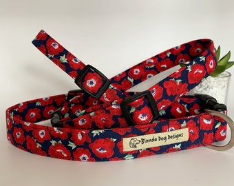 Dog Collar, Poppy, Floral Collar