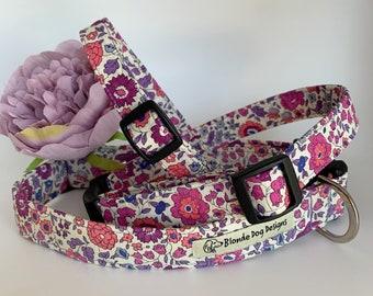 Liberty Dog Collar, D'Anjo Lilac, Floral Dog Collar