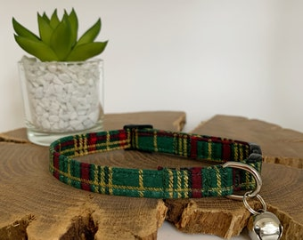 Cat Collar, Elegant Tartan Green
