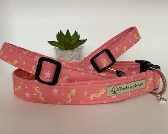 Seahorse Dog Collar, Pink Collar, NEW